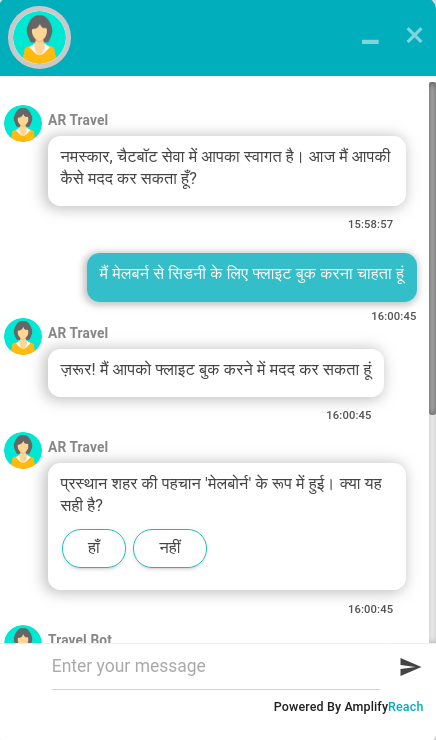 Hindi Chatbot and Live Chat Solution - AmplifyReach
